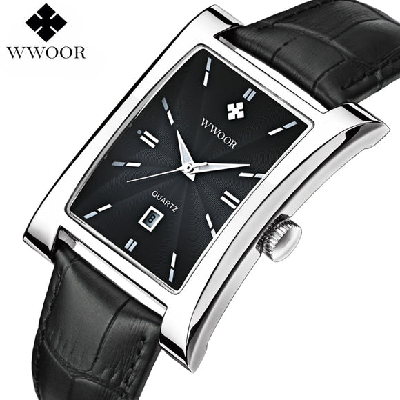 Casual Mens Watches Top Brand Luxury Glow Hour Date Square Clock Male Waterproof Quartz Watch for Men Leather Strap Wristwatch