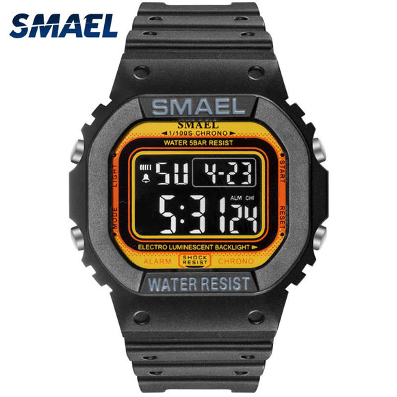 SMAEL Sports Watches Led Digital Sport Mens Watches Waterproof Digital Watch 1801 Male Clock Relogios Masculino Military Watch