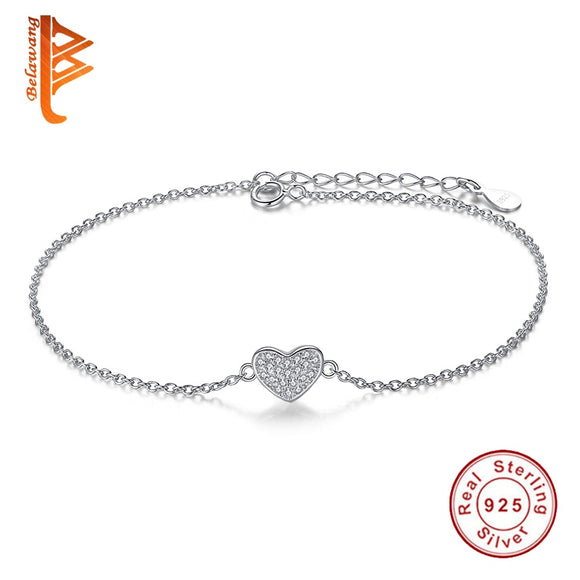 BELAWANG 925 Sterling Silver Bracelets For Women Crystal Heart Charm Bracelet & Bangle Fashion Romantic Jewelry Christmas Gifts