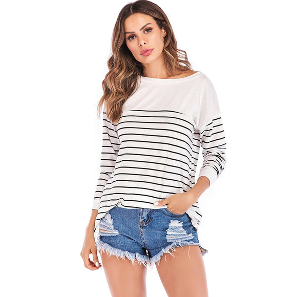 2019 Korean Fashion Striped Print T Shirt Women T-Shirts Long Sleeve Cotton Tunics female Asymmetric Tee Shirt Top Plus Size 5XL