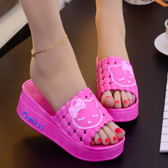 Women summer slipper sandals cute animal Slipper comfort Breathable hello Kitty wedges shoes for women 5 colours