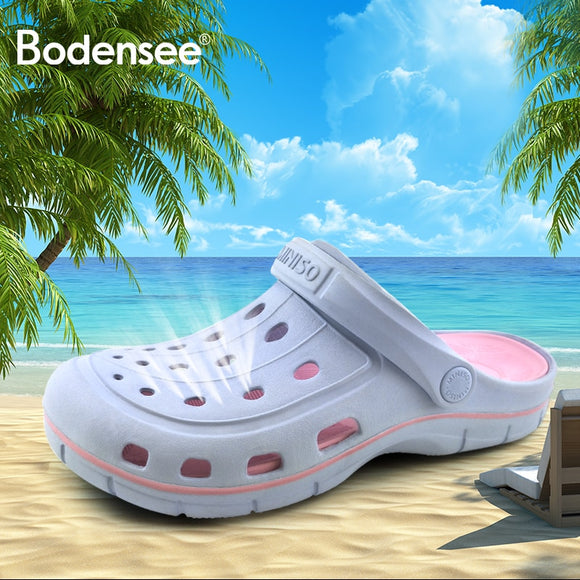 Bodensee New 2018 Classic Women Sandals Design Fashion EVA croc Carved Women Slides Famous Flat Slipony Women Beach Shoes woman