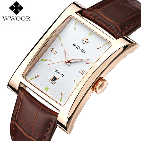 2019 New Luxury Brand WWOOR Men's Watches Quartz Watch Male Wristwatch leather Strap Waterproof Clocks relogio masculino relojes