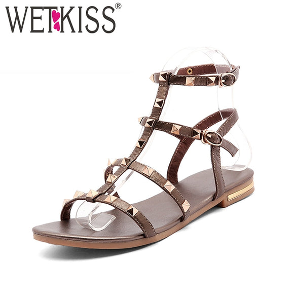 WETKISS 2019 Summer Genuine Leather Sandals Rivet Gladiator Ladies Shoes Fashion Women Flat Sandals studed Girls Footwear Buckle