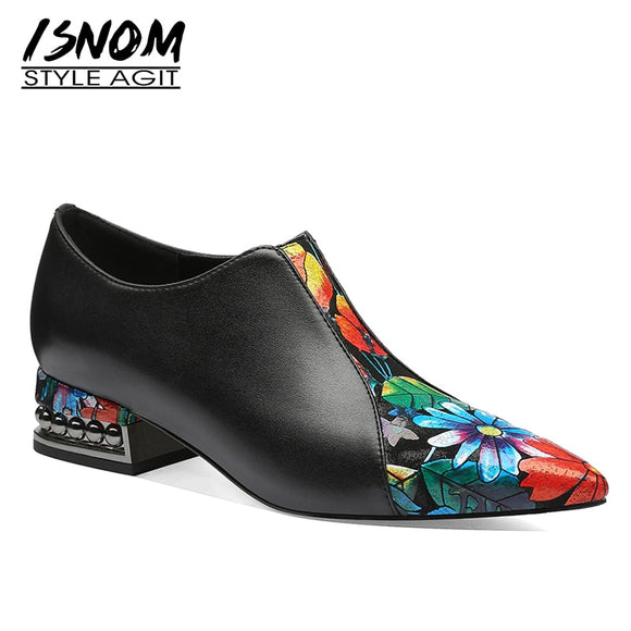 ISNOM Stud Thick Heels Rivets Pump Women Pointed Toe Footwear Flower Print Cow Leather Shoes Female Zip Casual Shoes 2019 Spring