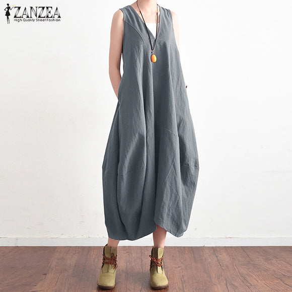 2019 ZANZEA Summer Elegant Women V Neck Sleeveless Cotton Linen Long Dress Solid Baggy Casual Lace Up Backless Vestido Plus Size