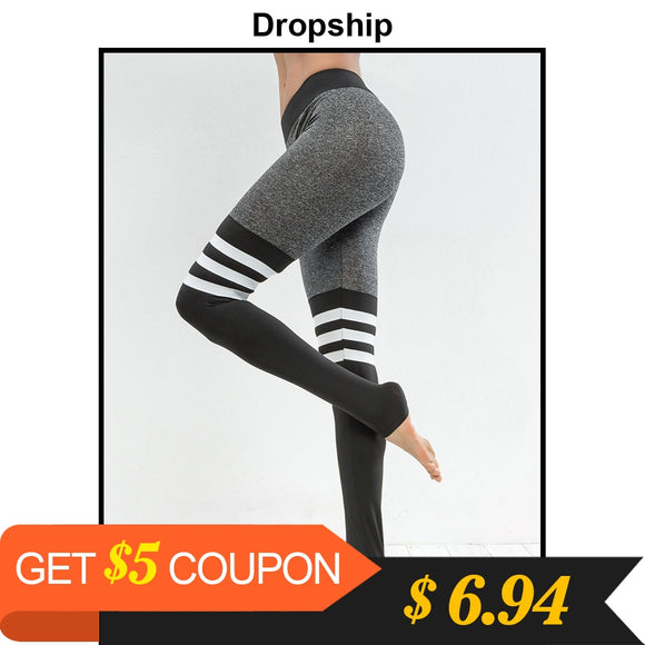 Dropship Leggings Women Fitness Legins Workout Low Waist Jeggings Autumn Black Elastic Slim Sport Patchwork Womens 2018