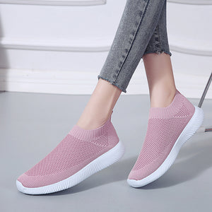 Lucyever Women Spring Summer Sneaker Knitted Mesh Vulcanized Shoes Casual Slip on Flat Female Soft Walking Footwear Plus Size