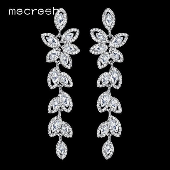 Mecresh Crystal Bridal Long Drop Earrings for Women Silver Color Leaves Wedding Earrings Engagement Party Jewelry 2019 EH282