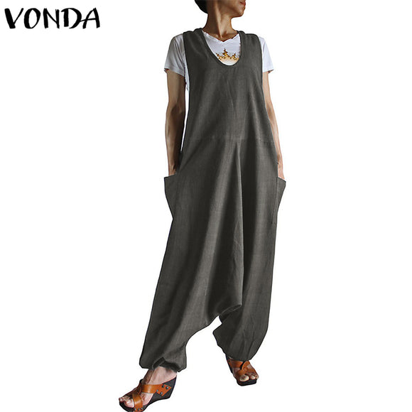 VONDA Rompers Womens Jumpsuit 2019 Autumn Harem Pants Casual Loose Sleeveless Playsuits Pockets Solid Overalls Plus Size Trouser