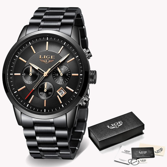 Fashion Watches Mens Luxury Brand LIGE Chronograph Men Sports Watch Waterproof Full Steel Analog Quartz Watch Relogio Masculino