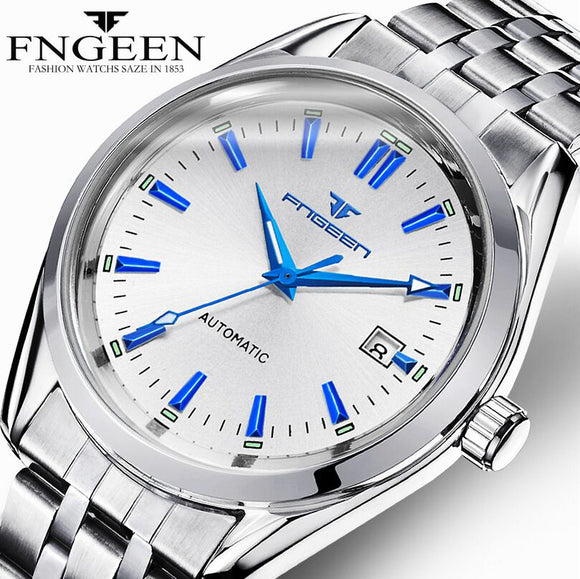 New Fashion Blue Light Automatic Mechanical Wwatches Business Men Luxury Watch Casual Calendar Wristwatches Male Gifts Watches