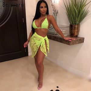 Beyprern Sexy See Through Neon Florence's Beach Set Three Piece Outwears Fashion Tie Front Mesh Beach Suits Beach Wear Wholesale