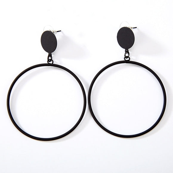 Big Golden Silver Black Hoop Ear Stud Metallic Simple Geometric Drop Earrings For Women Dangle Earrings