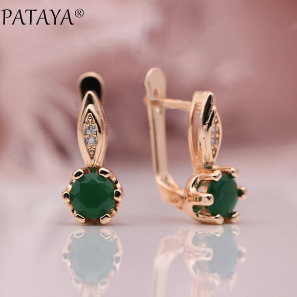 PATAYA New 585 Rose Gold Multicolor Micro Wax Inlay Green Natural Zircon Drop Earrings Women Wedding Party Simple Cute Jewelry