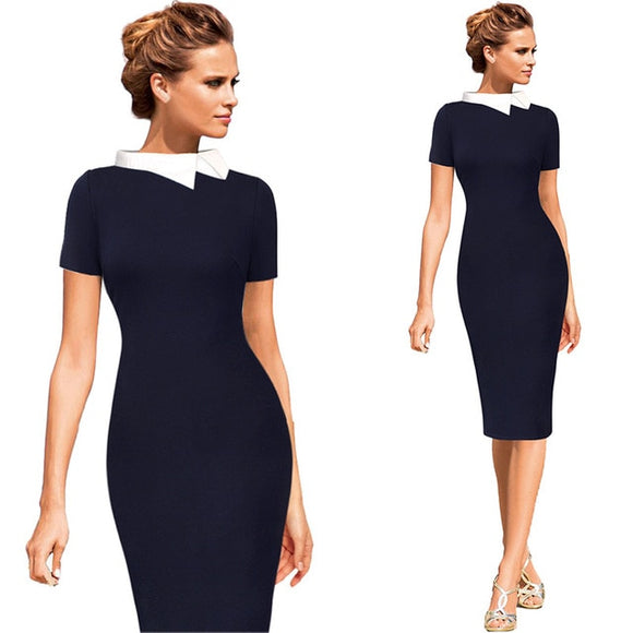 Vfemage Womens Celebrity Colorblock Contrast Collar Wear to Work Business Casual Party Stretch Bodycon Pencil Sheath Dress 1077