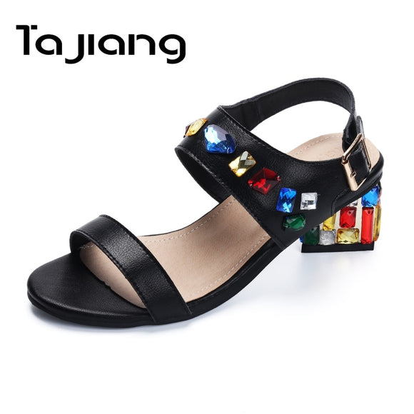 Ta Jiang Genuine Leather Cow Suede Women High Heels Party Gladiator Sandals Women Ladies Fashion Crystals Dress Shoes Woman