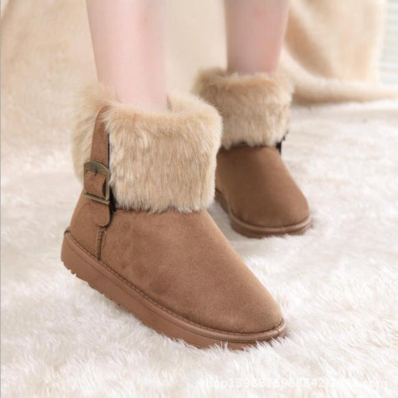 2019 Autumn and winter new fashion ladies snow boots imitation rabbit hair short boots metal buckle cotton shoes women's boots