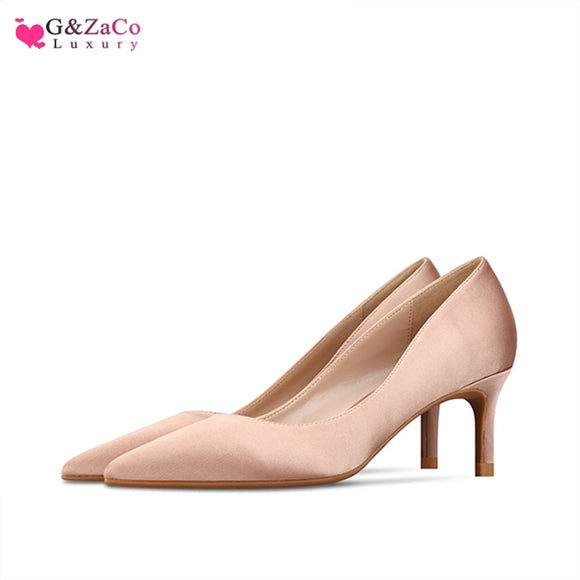 Silk Low Heel Shoes kitten heels heeled shoes Woman Simple New Satin Nude Fashion Pointed Stiletto Size 33 42 female Shoe 6cm