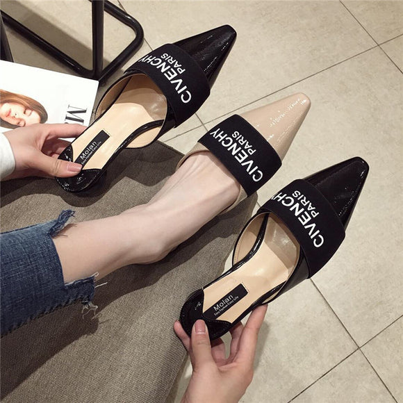 New Women Slippers Luxury Brand Mules Fashion Pointed Toe Slides Elegant Mule Shoes Female Dress Shoes Flat Women Casual Slipper