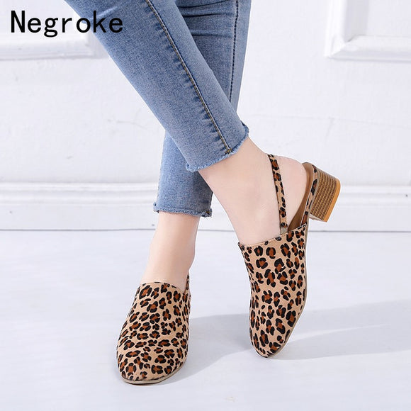 Sexy Leopard Summer Sandals Women Chunky Low Heel Shoes Woman Block Heels Slingback Dress Shoes Sandalias Mujer Pink White 43