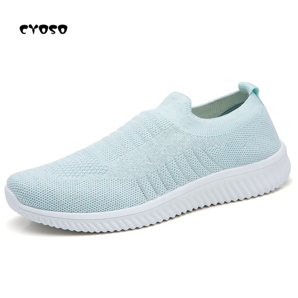CYOSO Sneaker Shoes Women Air Mesh Loafers Soft Slip on Flat Shoes Women Fly Knitted Walking Flats Breathable Casual Shoes