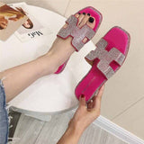 2019 Fashion Summer H Women Slippers Ladies Luxury Designer Sandals High Quality Shoes Flat Crystal Soft Bottom Slippers Women