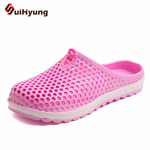 Suihyung Women Summer Shoes Casual Beach Slippers Breathable Hole Massage Shoes Ladies Flat Slides Soft EVA Sandals Flip Flips