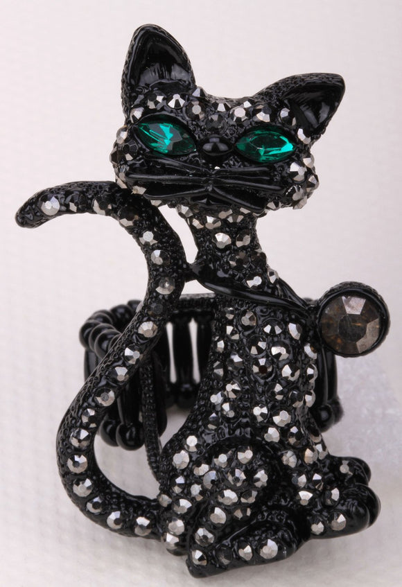 Cat stretch ring halloween bling jewelry gifts for women girls kids animal charm wholesale
