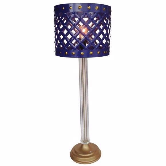 Metal Table Lamp With Cutout Patterned Drum Shade, Blue
