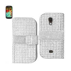 REIKO SAMSUNG GALAXY LIGHT JEWELRY DIAMOND RHINESTONE WALLET CASE IN SILVER