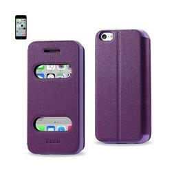 REIKO IPHONE 5C WINDOW FLIP FOLIO CASE IN PURPLE