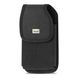 REIKO VERTICAL RUGGED POUCH SAMSUNG GALAXY S4 WITH METAL BELT CLIP IN BLACK ( 5.78x3.15x0.71 INCHES PLUS)