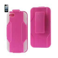 REIKO IPHONE SE/ 5S/ 5 HYBRID HEAVY DUTY HOLSTER COMBO CASE IN HOT PINK CLEAR