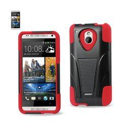 REIKO HTC ONE MINI M4 HYBRID HEAVY DUTY CASE WITH KICKSTAND IN RED BLACK