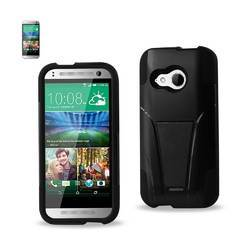 REIKO HTC ONE MINI 2 HYBRID HEAVY DUTY CASE WITH KICKSTAND IN BLACK