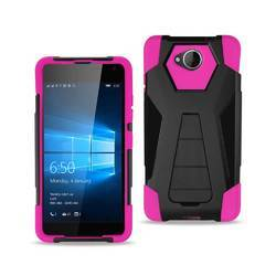 REIKO MICROSOFT LUMIA 650 HYBRID HEAVY DUTY CASE WITH KICKSTAND IN HOT PINK BLACK