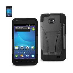 REIKO SAMSUNG GALAXY S2 HYBRID HEAVY DUTY CASE WITH KICKSTAND IN BLACK