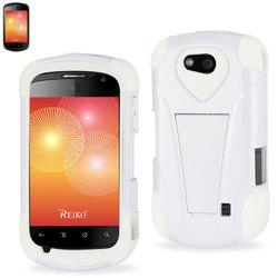 REIKO ZTE GROOVE HYBRID HEAVY DUTY CASE WITH KICKSTAND IN WHITE