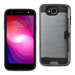 REIKO LG X POWER 2 SLIM ARMOR HYBRID CASE WITH CARD HOLDER IN GRAY