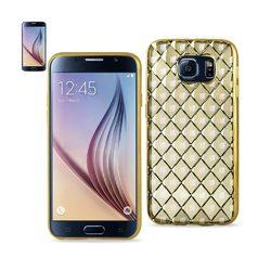 REIKO SAMSUNG GALAXY S6 FLEXIBLE 3D RHOMBUS PATTERN TPU CASE WITH SHINY FRAME IN GOLD