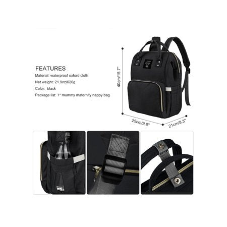 Vbiger Large Capacity Mummy Maternity Nappy Bag Multifunctional Diaper Backpack Travel Backpack for Baby Care, Black