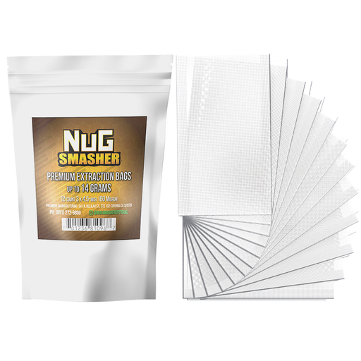 NugSmasher 14 Gram Premium Extraction Rosin Bags - Pack of 12 (37u, 90u, 120u, 160u)