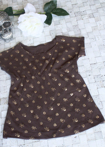 Brown Girls Gold Skulls and Flowers Play Dress-Spooky Baby