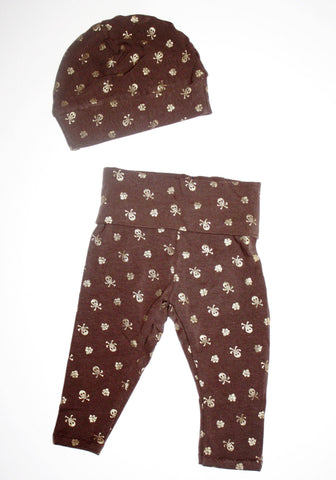 Brown Skulls and Flowers Yoga Style Leggings-Spooky Baby