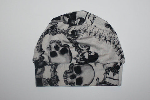 Gray and Black Raven and Skulls Knit Halloween Hats-Spooky Baby