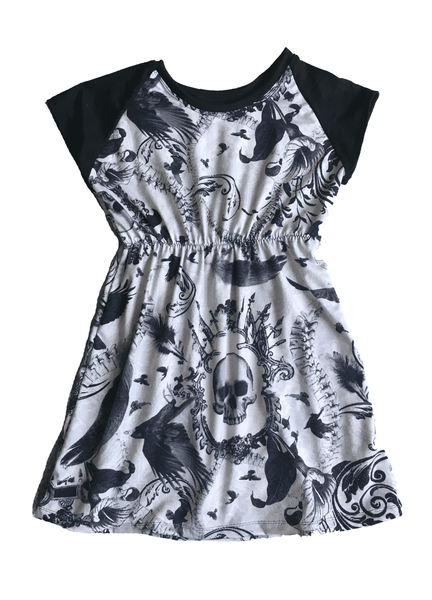 Raglan Girls Raven Skull Play Dress-Spooky Baby