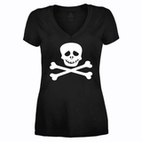 Black Crew Neck Skull and Bones Tshirt-Spooky Baby