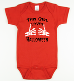 This Girl Loves Halloween Onesie or Tshirt
