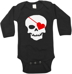 Valentine Skull Glow in the Dark Onesie or Tee